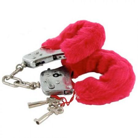 Белезници с червен пух Love cuffs
