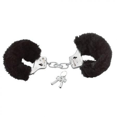 Белезници с черен пух Love cuffs